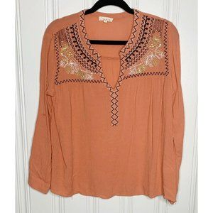 Tea & Cup Coral Embroidered Long Sleeve Blouse M